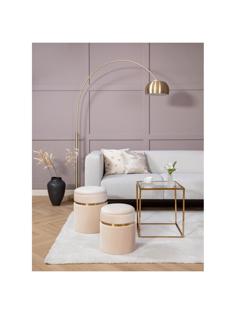 Bank Carrie (3-zits) in beige met metalen poten, Bekleding: polyester, Frame: spaanplaat, hardboard, mu, Poten: gelakt metaal, Geweven stof beige, B 202 x D 86 cm