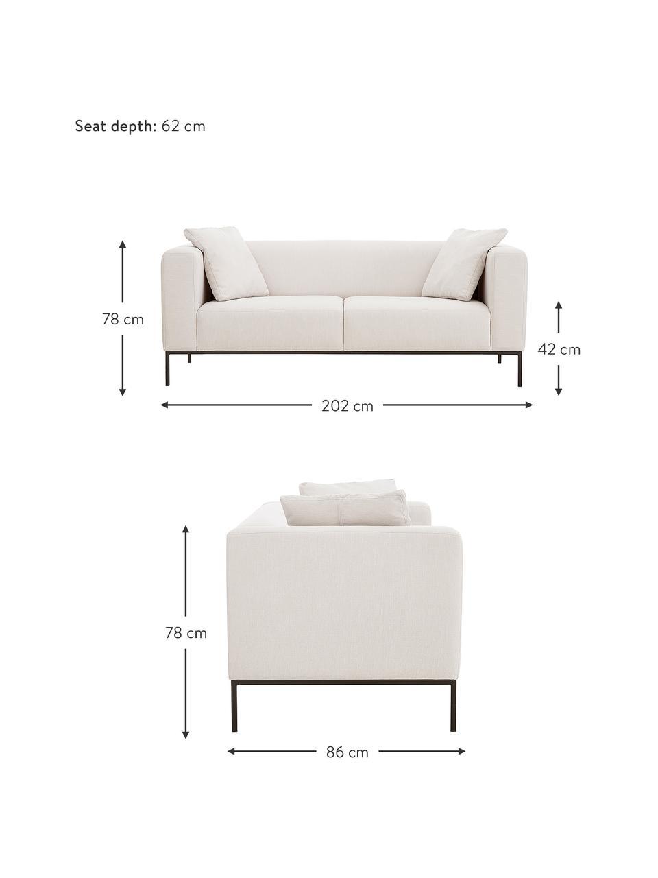 Sofa z metalowymi nogami Carrie (3-osobowa), Tapicerka: poliester 50 000 cykli w , Tapicerka: wyściółka z pianki na zaw, Nogi: metal lakierowany, Beżowy, S 202 x G 86 cm