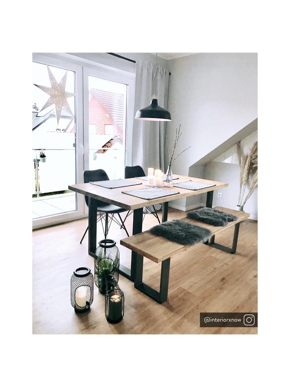 Banco de madera maciza Oliver, Asiento: tableros de madera de rob, Patas: metal con pintura en polv, Roble natural, An 140 x Al 45 cm