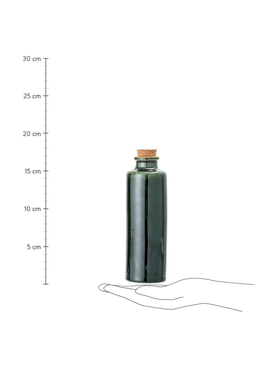 Ręcznie wykonana karafka do octu i oleju Joelle, Ciemny zielony, Ø 6 x W 18 cm
