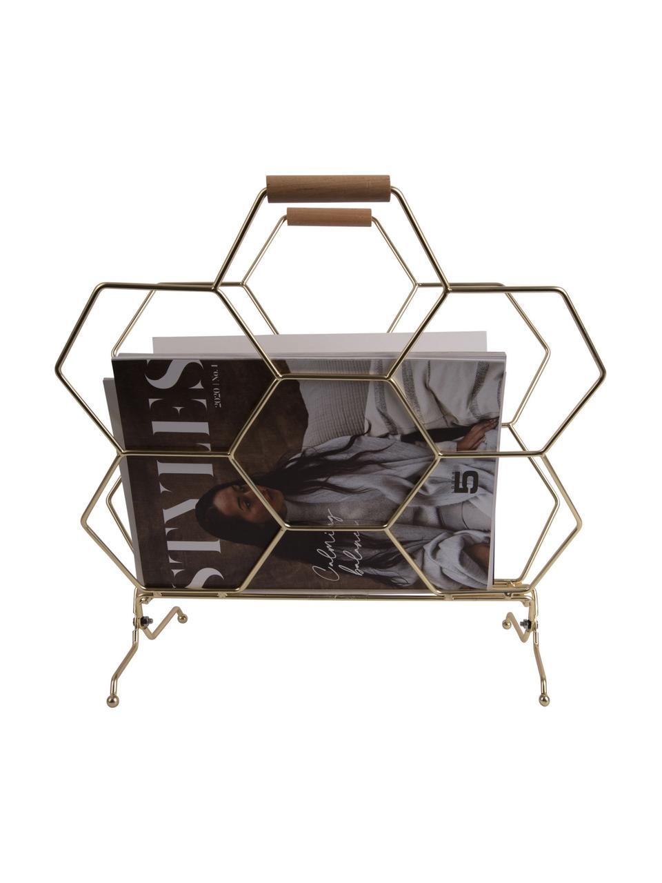 Portariviste Honeycomb, Ottonato, legno, Larg. 40 x Alt. 45 cm