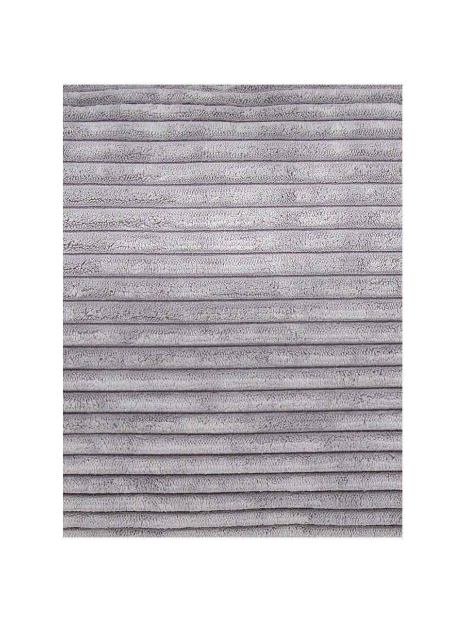 Pouf sacco in velluto a coste Velours, Rivestimento: 88% nylon, 12% poliestere, Grigio chiaro, Ø 110 x Alt. 70 cm