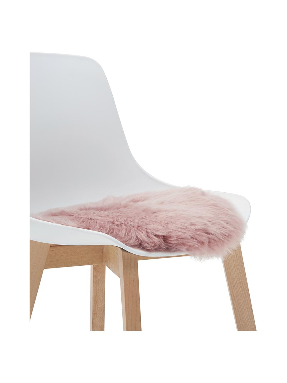 Okrągła poduszka na krzesło ze skóry owczej Oslo, Blady różowy, Ø 37 cm