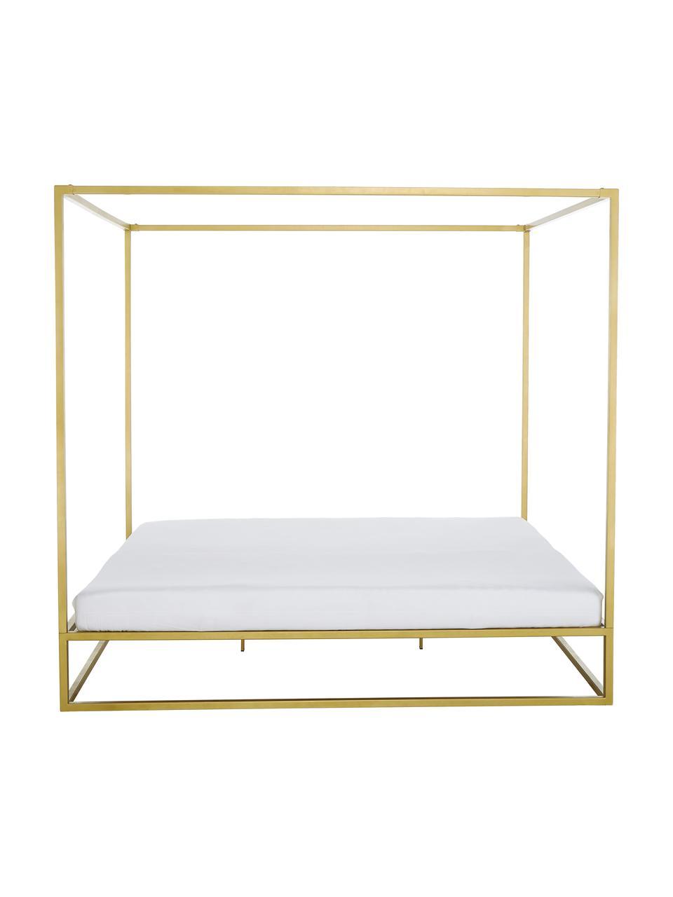 Hemelbed Belle van metaal, Vermessingd metaal, Mat goudkleurig, 180 x 200 cm