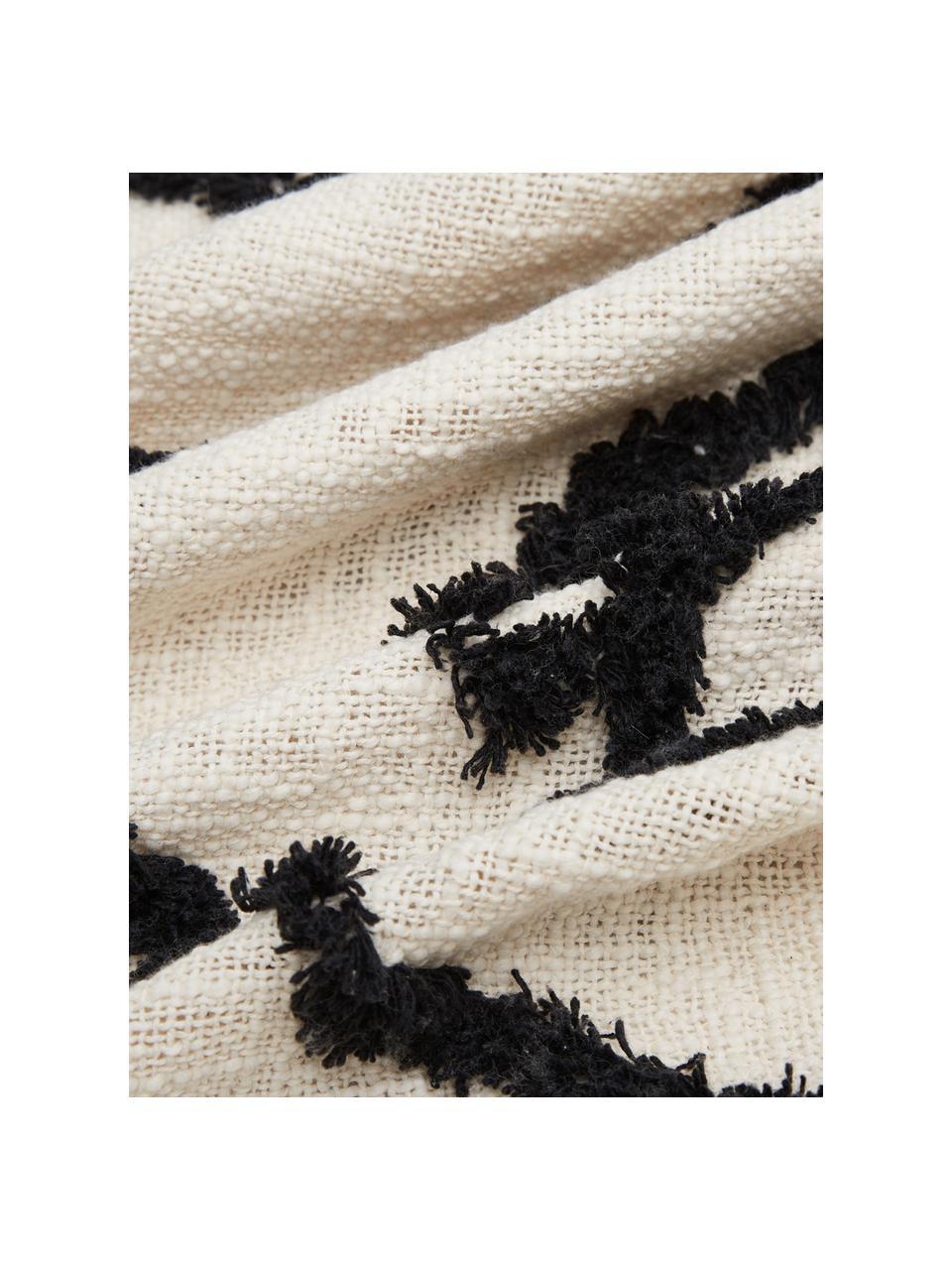 Coperta in cotone con disegno astratto Face, 100% cotone, Avorio, nero, Larg. 130 x Lung. 170 cm
