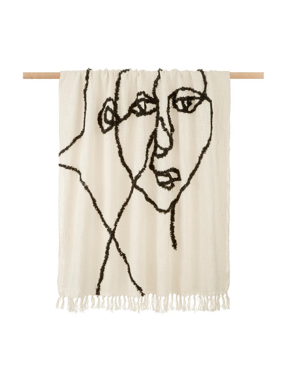 Puszysty koc z bawełny z tuftowanym wzorem Face, 100% bawełna, Kość słoniowa, czarny, S 130 x D 170 cm