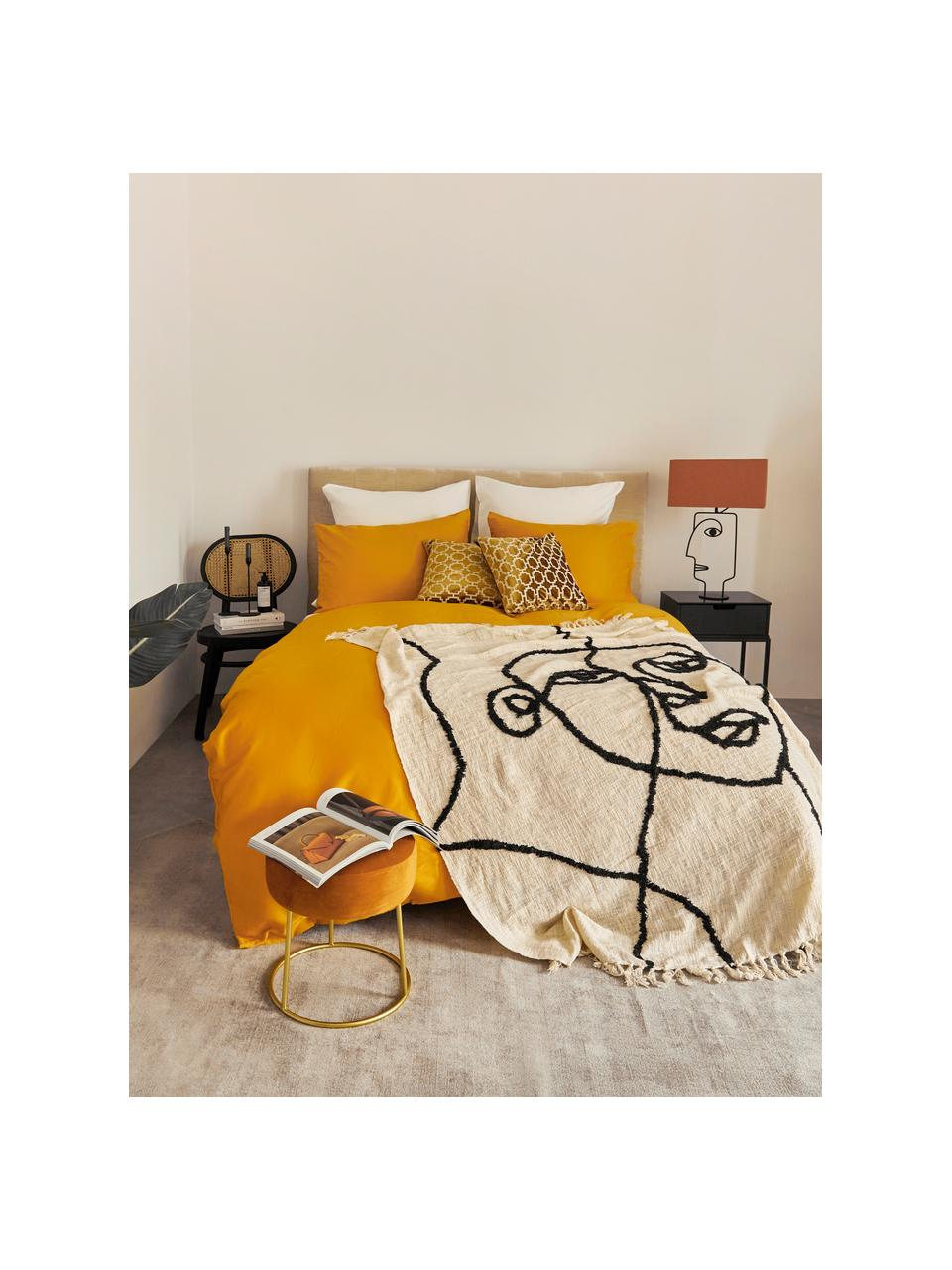 Baumwolldecke Face mit getuftetem abstraktem Muster, 100% Baumwolle, Elfenbeinfarben, Schwarz, 130 x 170 cm