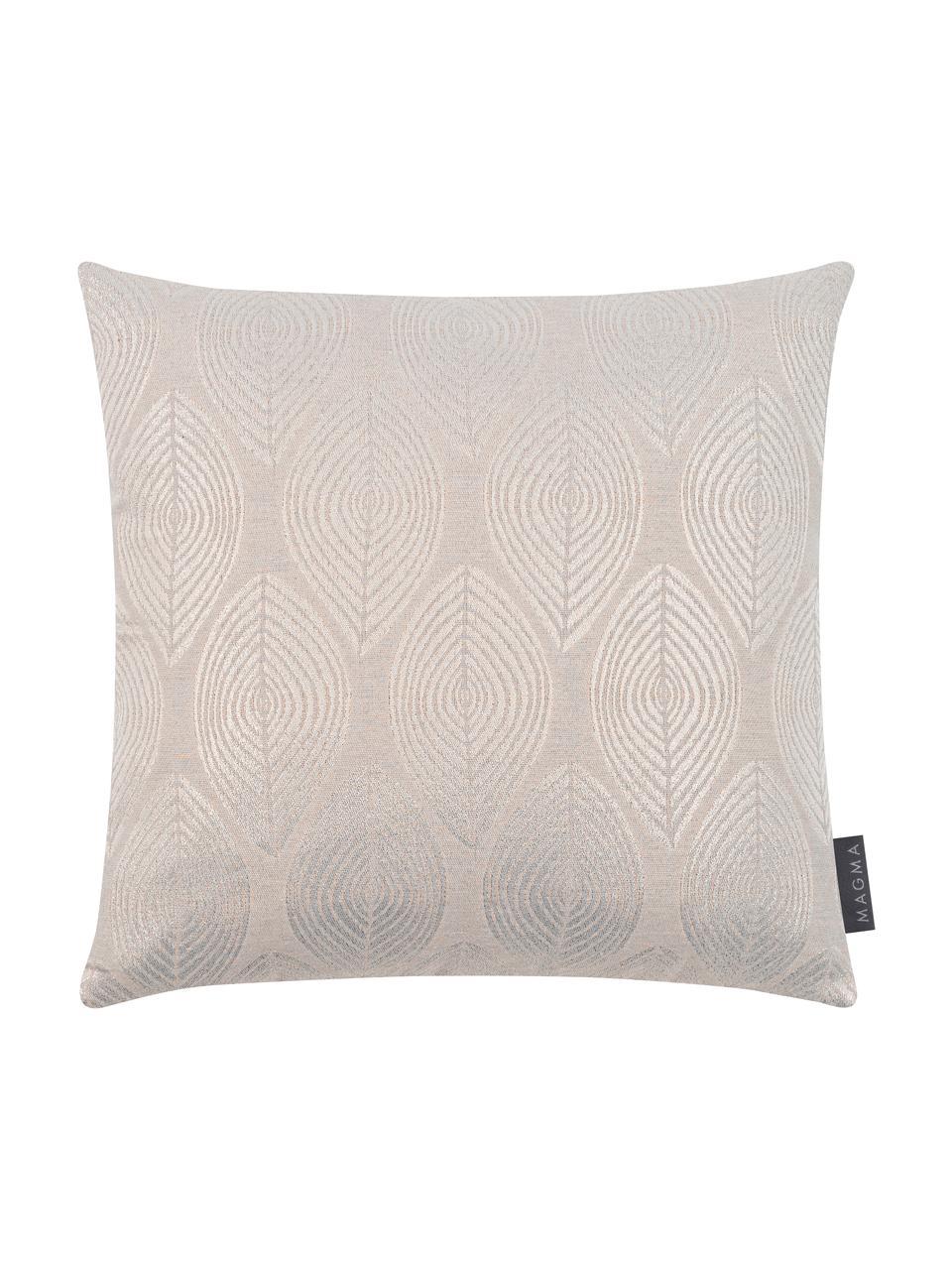 Kissenhülle Dulce in Beige mit glänzenden Motiven, 78% Polyester, 22% Baumwolle, Beige, 40 x 40 cm