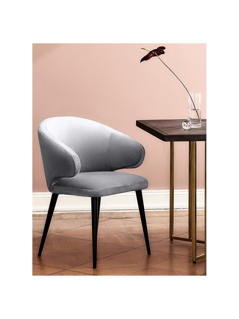 Moderní sametová židle spodručkami Celia, Ocelově šedá