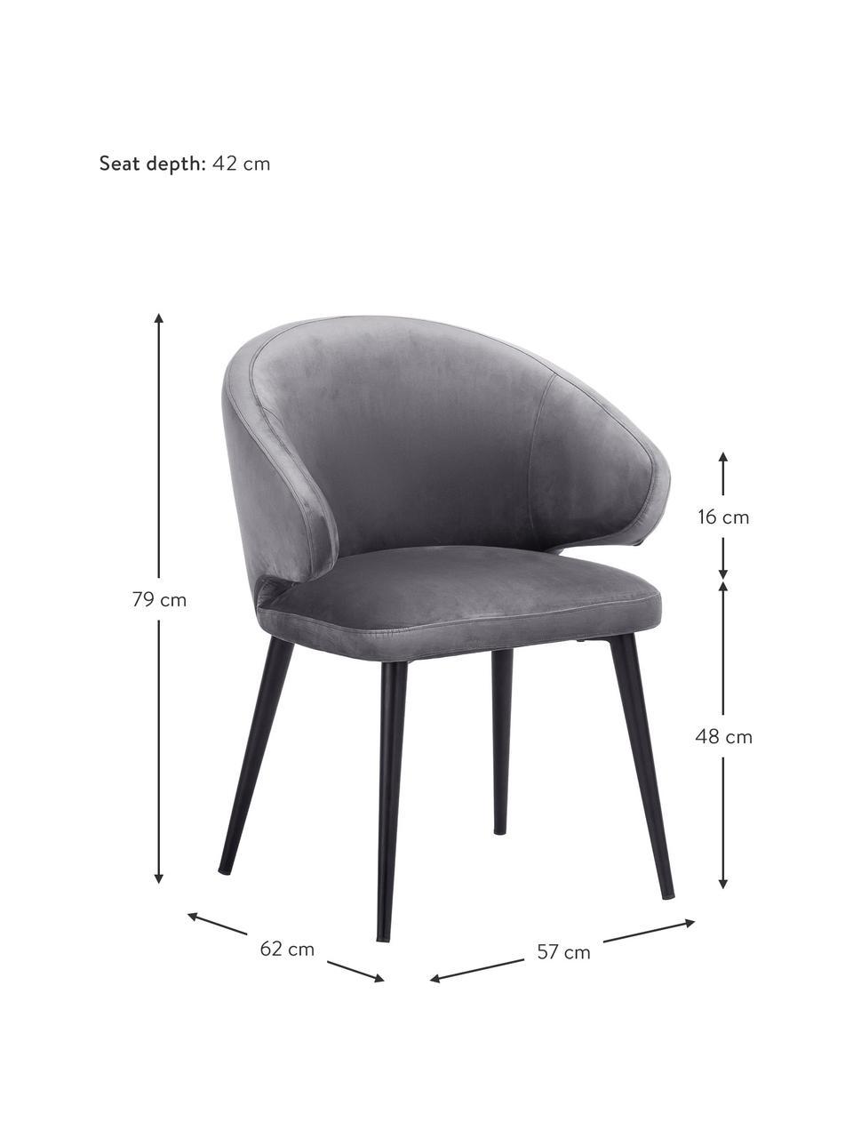 Krzesło z podłokietnikami z aksamitu Celia, Tapicerka: aksamit (poliester) Dzięk, Nogi: metal malowany proszkowo, Aksamitny stalowoszary, S 57 x G 62 cm