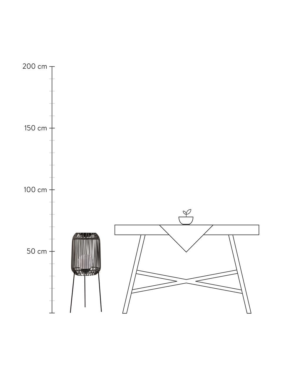 Mobile Solar Bodenleuchte Sunshine Coziness, Lampenschirm: Polyrattan, Lampenfuß: Metall, beschichtet, Schwarz, Grau, Ø 28 cm