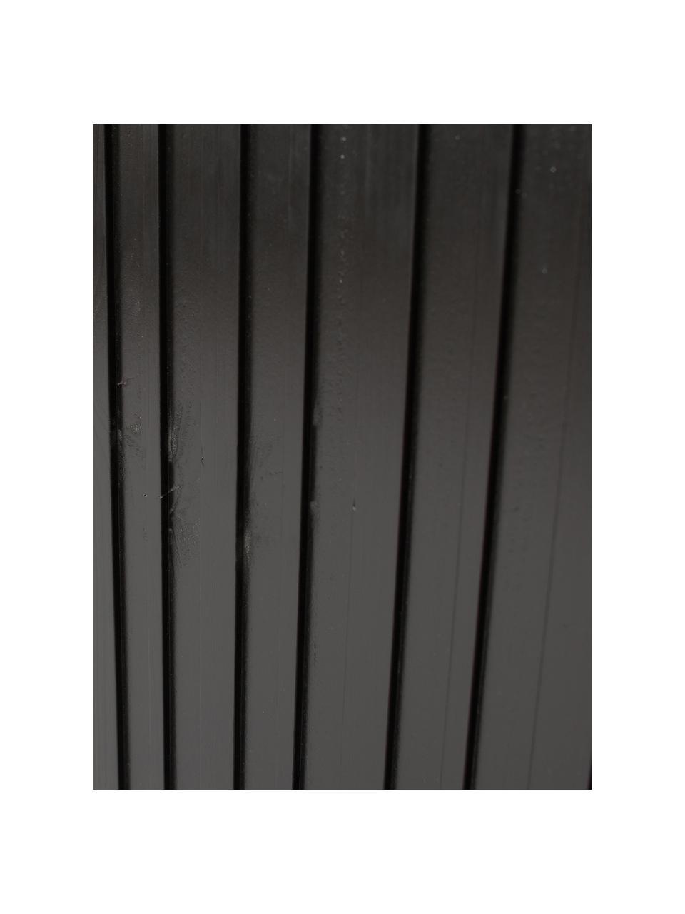 Schwarzes Standregal Gravure mit Stauraum, Korpus: Kiefernholz, massiv, lack, Füße: Metall, lackiert, Einlegeböden: Sperrholz, laminiert, Schwarz, 100 x 200 cm