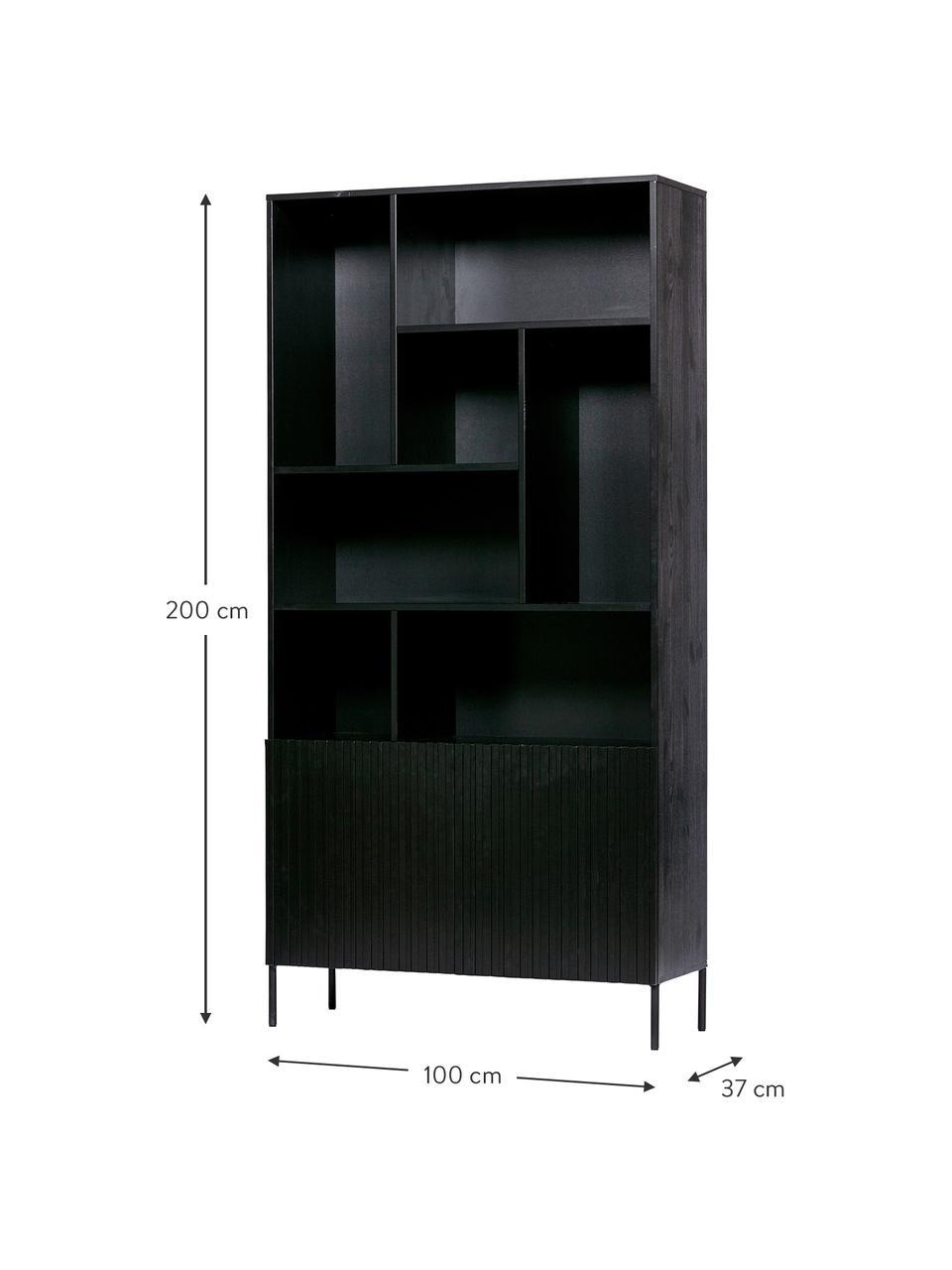 Regał z miejscem do przechowywania Gravure, Korpus: drewno sosnowe, lite, lak, Nogi: metal lakierowany, Czarny, S 100 x W 200 cm
