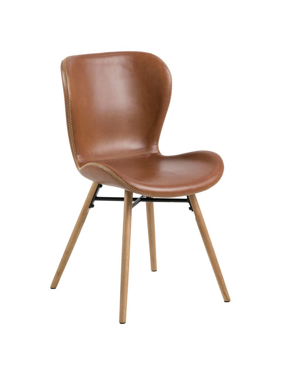 Chaises en cuir synthétique rembourrées Batilda, 2pièces, Cuir synthétique cognac, bois de chêne