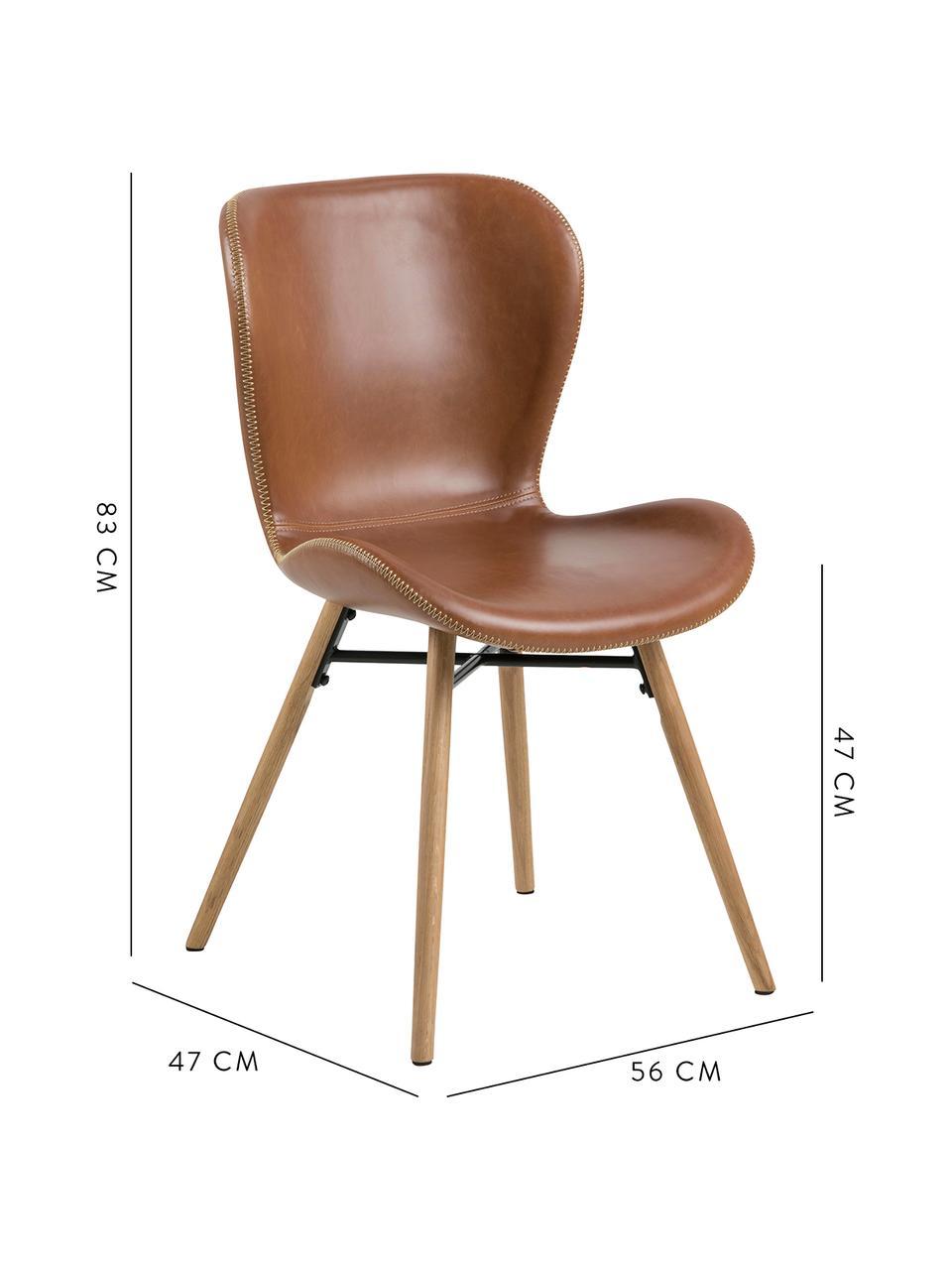 Krzesło tapicerowane ze sztucznej skóry Batilda, 2 szt., Tapicerka: sztuczna skóra (poliureta, Nogi: drewno dębowe, olejowane, Koniakowy, drewno dębowe, S 56 x G 47 cm
