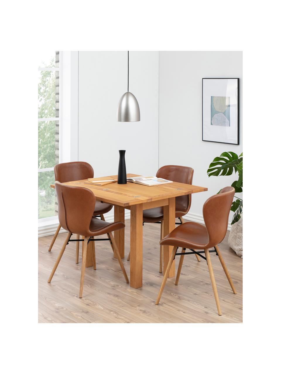 Krzesło tapicerowane ze sztucznej skóry Batilda, 2 szt., Tapicerka: sztuczna skóra (poliureta, Nogi: drewno dębowe, olejowane, Koniakowy, S 47 x G 53 cm
