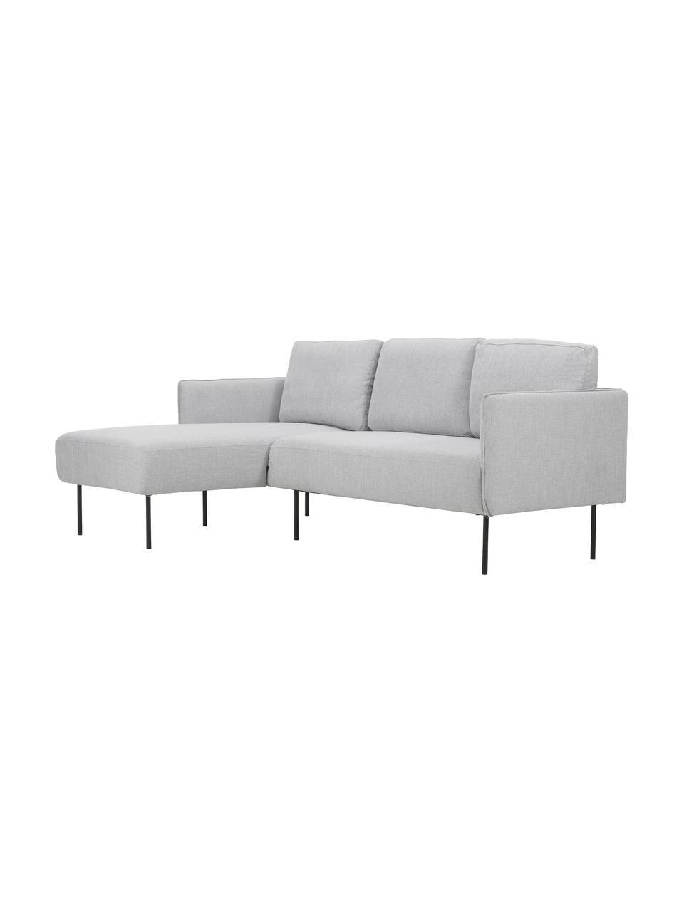 Sofa narożna z metalowymi nogami Ramira, Tapicerka: poliester Dzięki tkaninie, Nogi: metal malowany proszkowo, Jasny szary, S 192 x G 139 cm