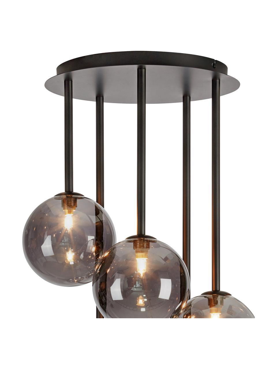 Pendelleuchte Universe aus verspiegeltem Glas, Lampenschirm: Glas, Baldachin: Metall, beschichtet, Schwarz, Ø 40 x H 68 cm