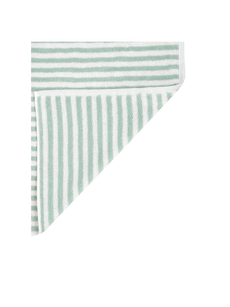 Lot de serviettes de bain à rayures Viola, 3 élém., Vert menthe, blanc crème