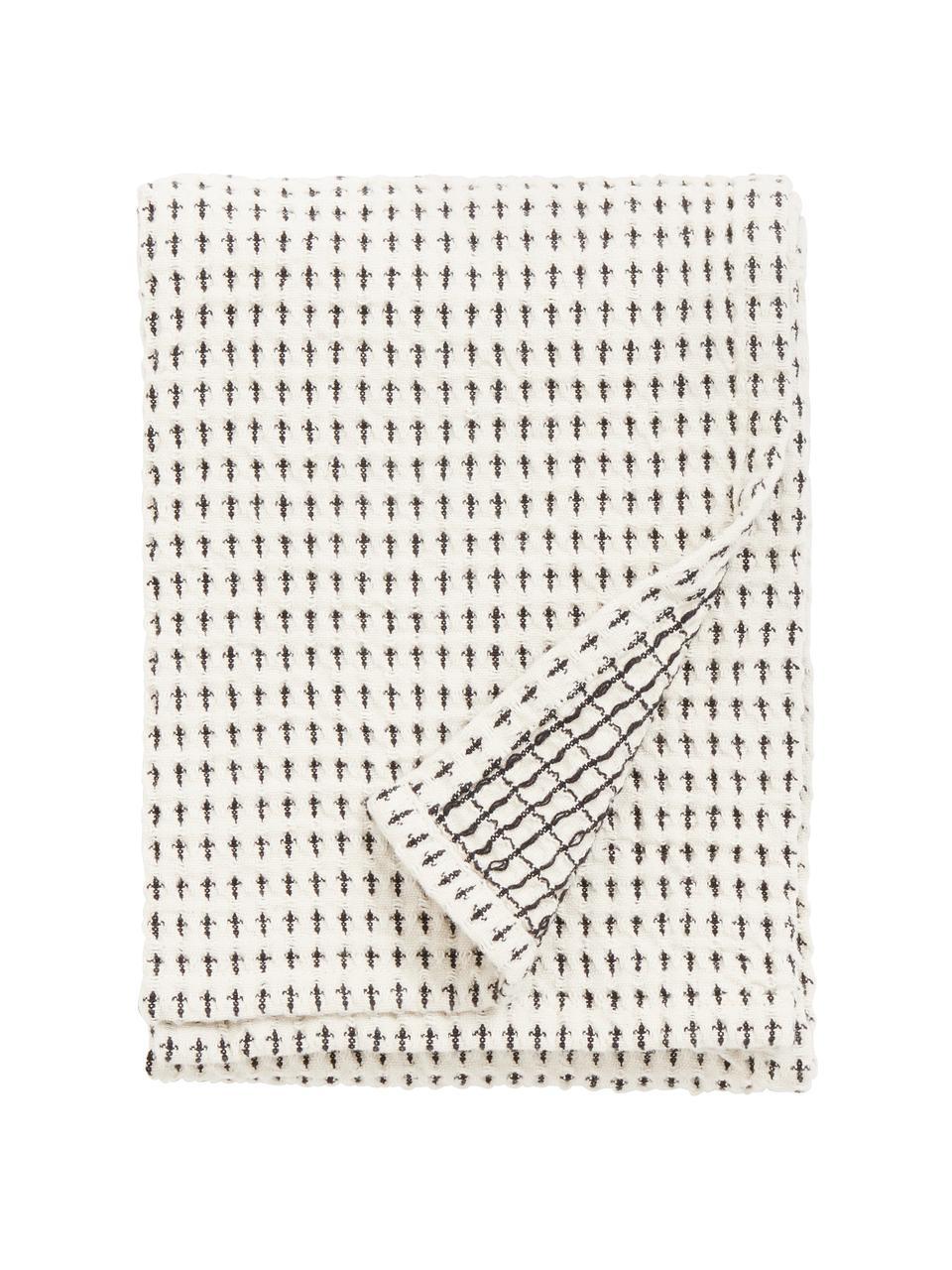 Geschirrtücher Stirly aus Baumwolle, 2 Stück, 100% Baumwolle, Gebrochenes Weiß, Schwarz, 50 x 70 cm