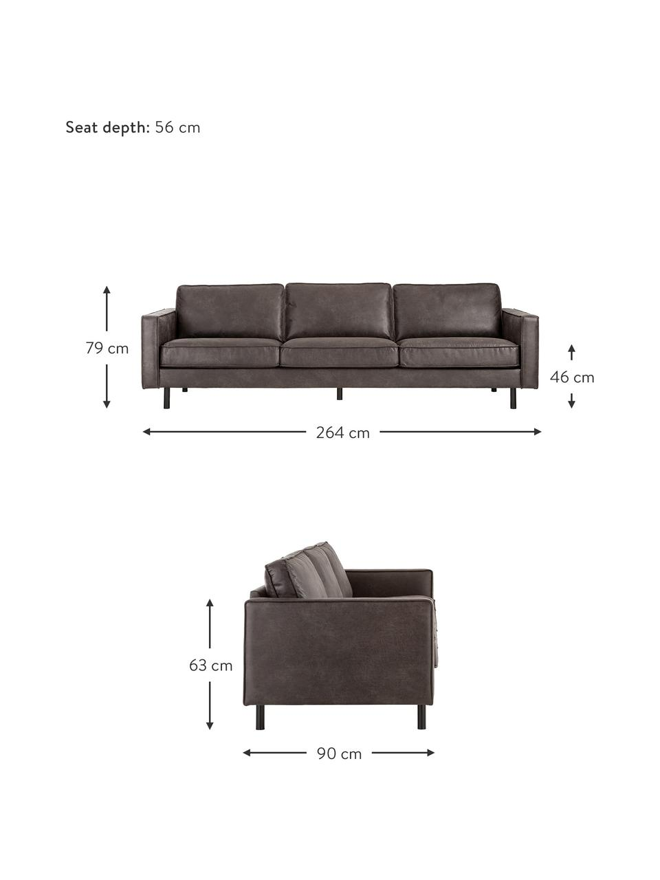 Sofa Hunter (4-Sitzer) in Braungrau aus recyceltem Leder, Bezug: Recyceltes Leder (70% Led, Gestell: Massives Birkenholz und h, Füße: Metall, pulverbeschichtet, Leder Braungrau, B 264 x T 90 cm