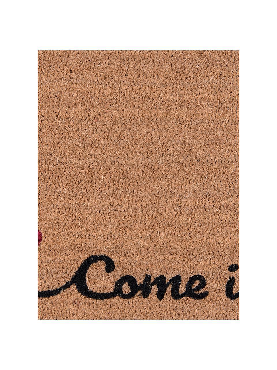 Fußmatte Come Inside, Oberseite: Kokosfaser, Unterseite: PVC, Braun, Schwarz, Rot, 45 x 75 cm