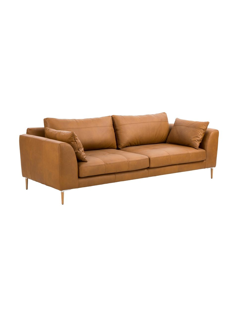 Leder Big Sofa Canyon (3-Sitzer) in Cognacfarben mit Holz-Füßen, Bezug: Semianilinleder, Füße: Buchenholz, Metall, Leder Cognac, B 225 x T 100 cm