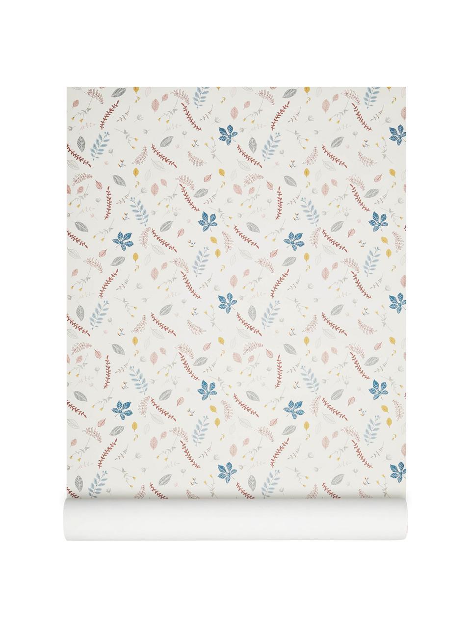 Behang Pressed Leaves, Papier, Crèmekleurig, roze, blauw, grijs, geel, 53 x 1005 cm