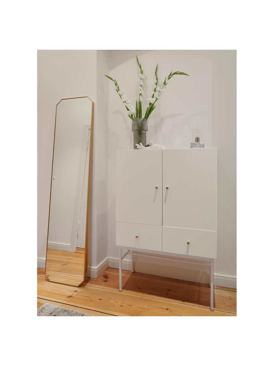 Specchio da terra con cornice dorata Bavado, Cornice: alluminio rivestito, Superficie dello specchio: lastra di vetro, Ottone, Larg. 41 x Alt. 175 cm