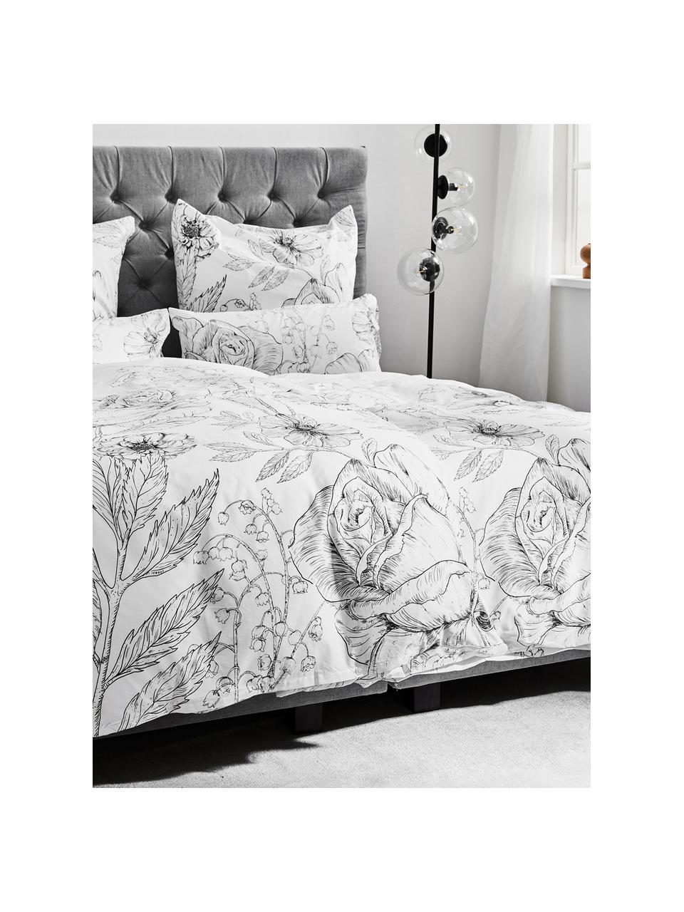 Baumwollperkal-Bettwäsche Keno mit Blumenprint, Webart: Perkal Fadendichte 180 TC, Weiß, Grau, 135 x 200 cm + 1 Kissen 80 x 80 cm