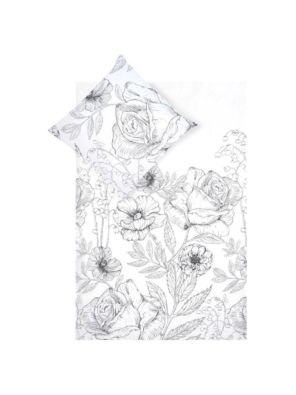 Pościel z perkalu Keno, Biały, szary, 135 x 200 cm + 1 poduszka 80 x 80 cm