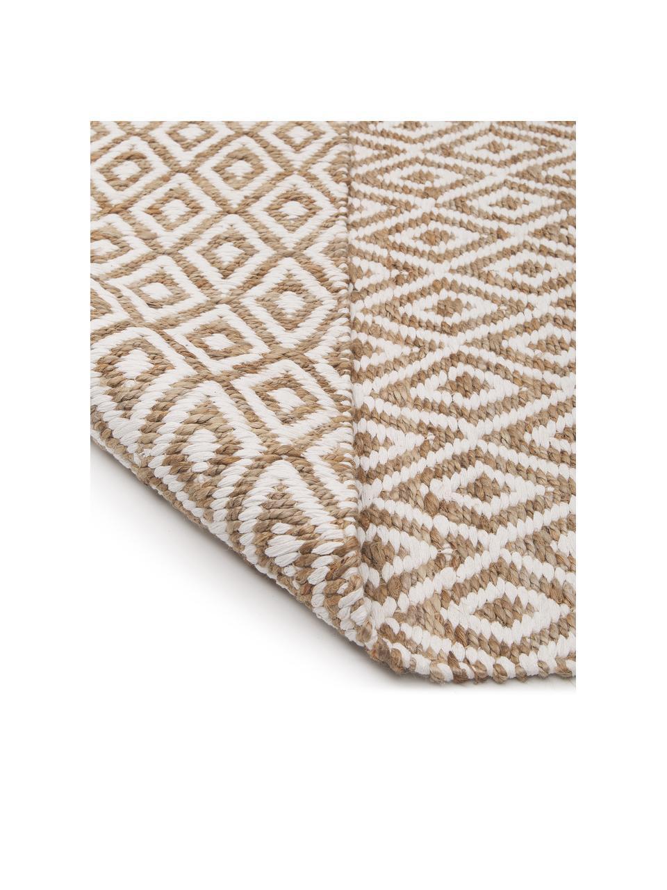 Handgefertigte Jute-Fußmatte Ramos, 100% Jute, Beige, Weiß, 50 x 80 cm