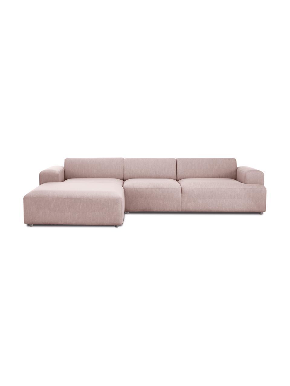 Canapé d'angle 4 places rose Melva, Tissu rose