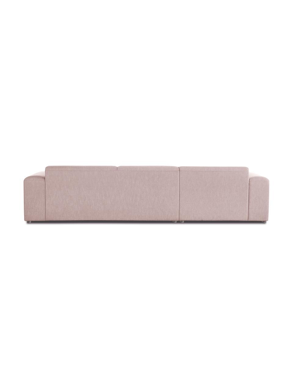 Hoekbank Melva (4-zits) in roze, Bekleding: 100% polyester, Frame: massief grenenhout, FSC-g, Poten: kunststof, Geweven stof roze, B 319 x D 196 cm