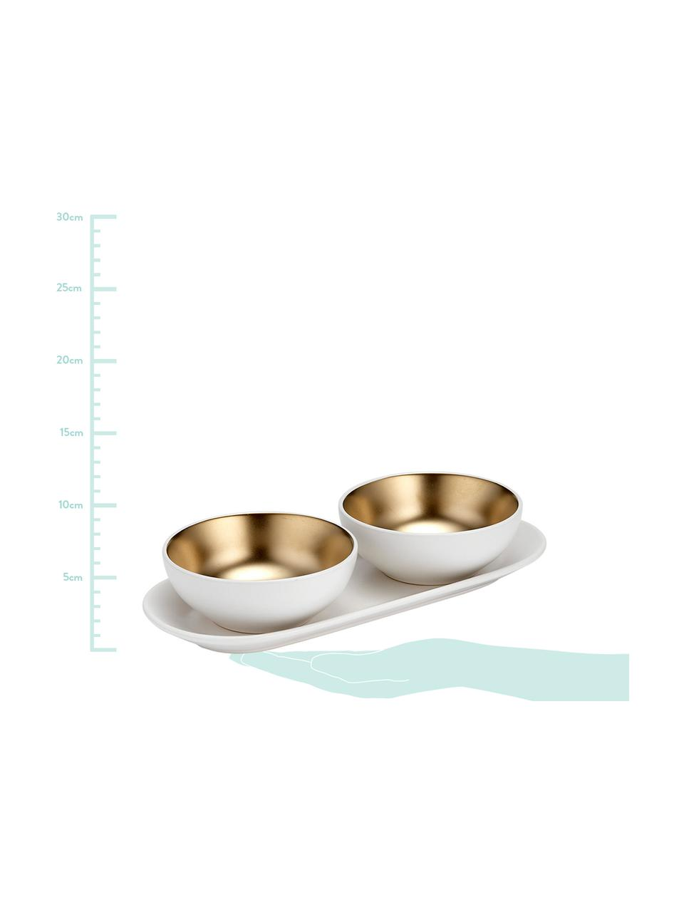 Komplet misek do dipów Glitz, 3 elem., Kamionka, Biały, odcienie złotego, Ø 10 x W 4 cm