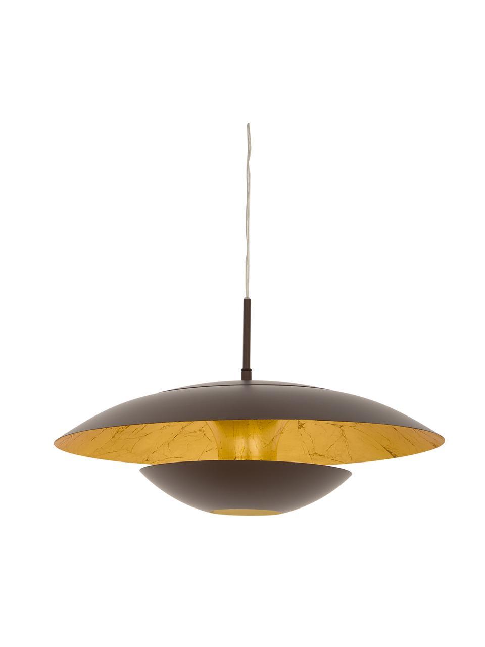 Lampa wisząca Nuvano, Brązowy, odcienie złotego, Ø 48 x W 18 cm