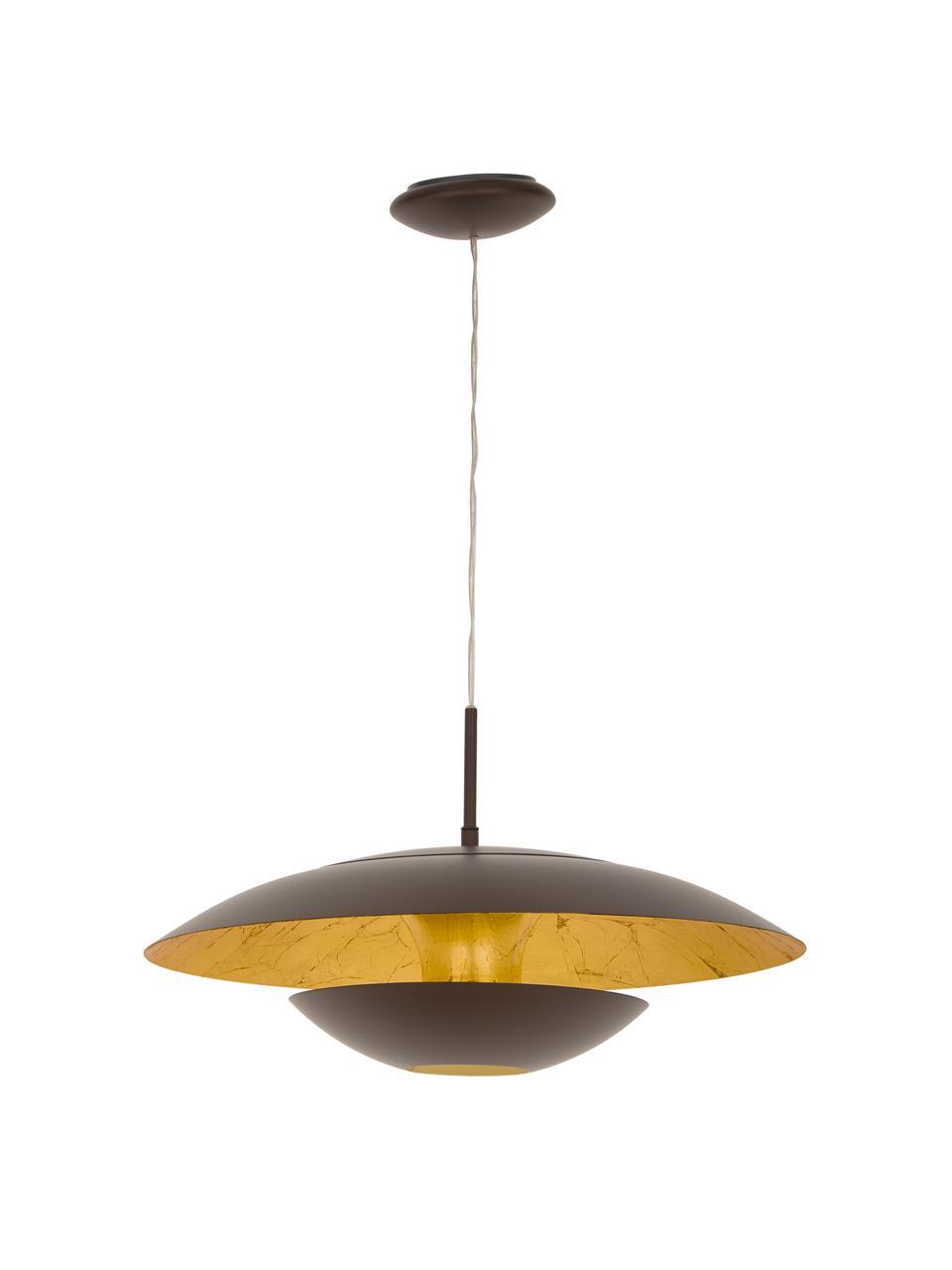 Lampada a sospensione marrone Nuvano, Paralume: acciaio verniciato a polv, Baldacchino: metallo, Marrone, dorato, Ø 48 x Alt. 18 cm