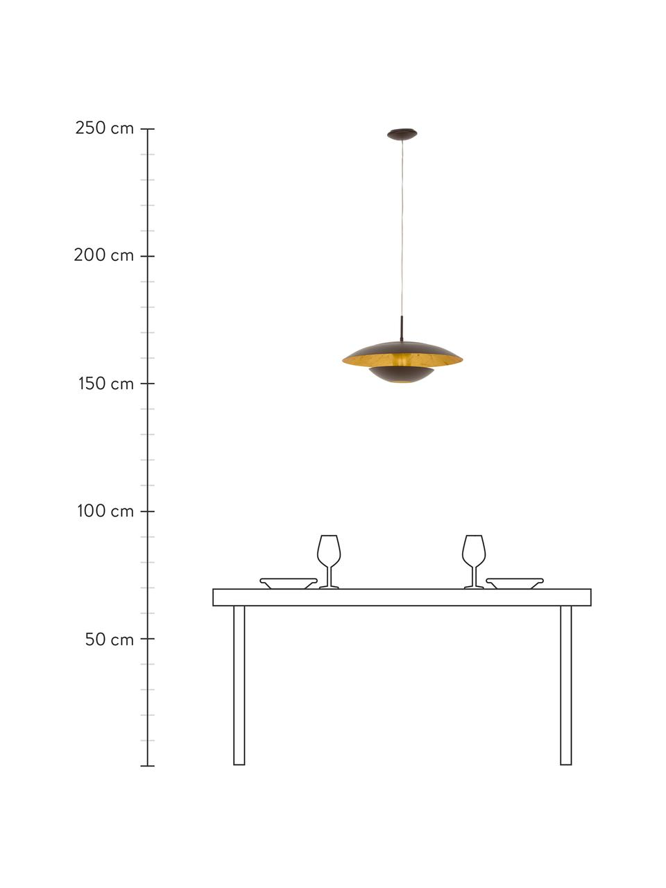 Pendelleuchte Nuvano in Braun, Lampenschirm: Stahl, pulverbeschichtet, Baldachin: Metall, Braun, Goldfarben, Ø 48 x H 18 cm