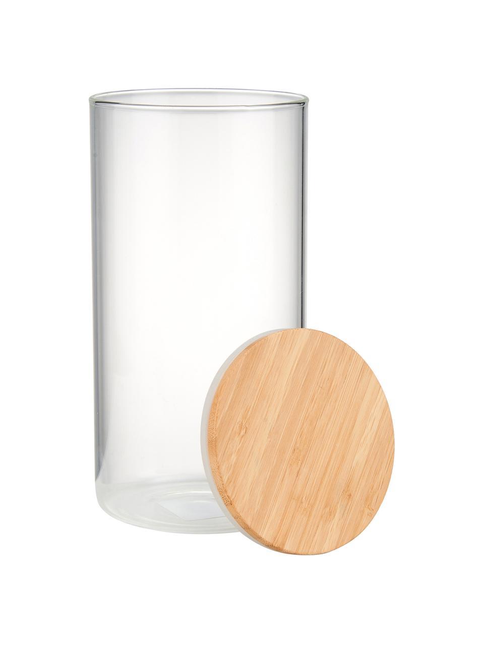 Aufbewahrungsdose Woodlock mit Deckel aus Buchenholz, Dose: Glas, Deckel: Buchenholz, Transparent, Buchenholz, Ø 11 x H 28 cm