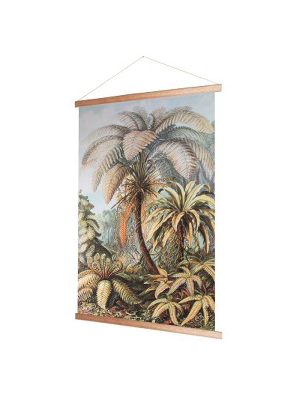 Wandobjekt Jungle, Bild: Baumwolle, Rahmen: Holz, Mehrfarbig, 70 x 100 cm