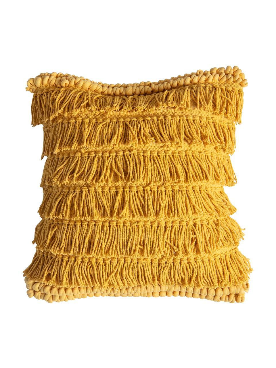 Boho Kissen Tallara, mit Inlett, Bezug: 100% recycelte Baumwolle, Ockergelb, 45 x 45 cm