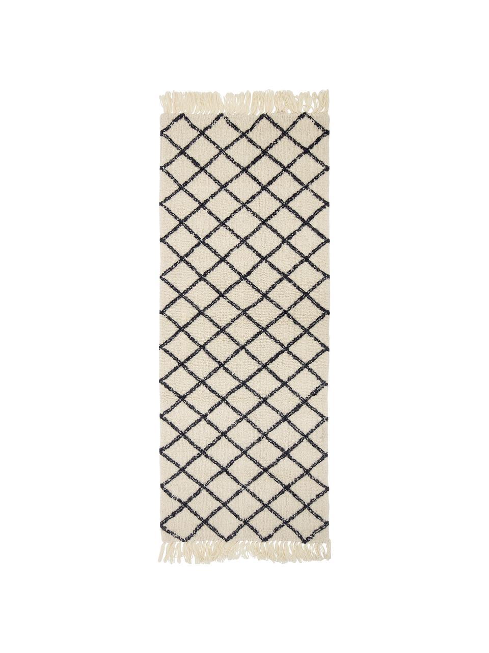 Passatoia in lana Alva, 70% lana, 30% cotone Nel caso dei tappeti di lana, le fibre possono staccarsi nelle prime settimane di utilizzo, questo e la formazione di lanugine si riducono con l'uso quotidiano, Crema, antracite, Larg. 70 x Lung. 200 cm