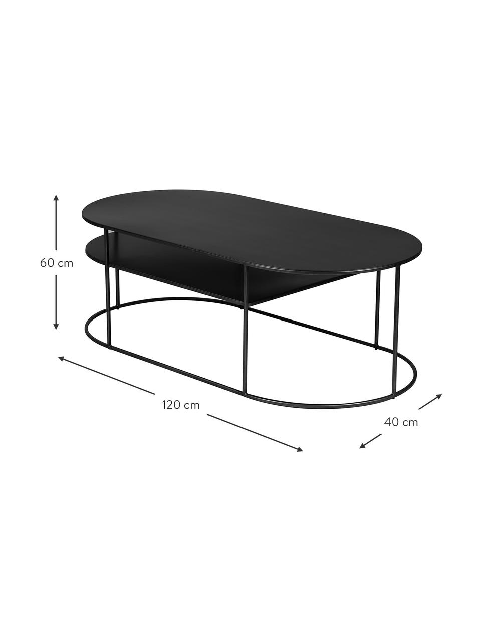 Tavolino da salotto in metallo nero Grayson, Metallo rivestito, Nero, Larg. 120 x Alt. 60 cm