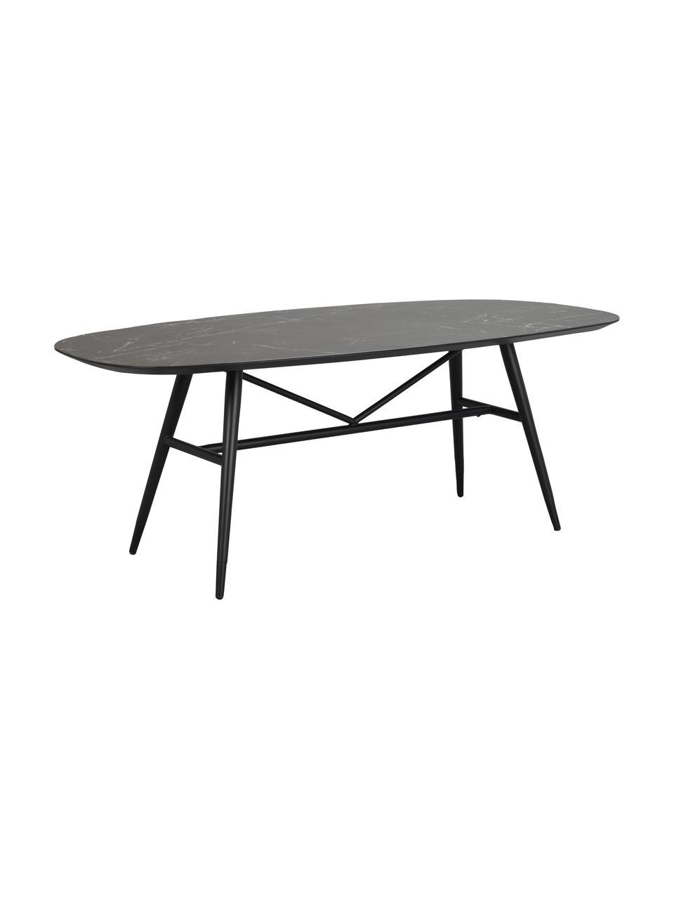 Esstisch Springdale in Marmoroptik, 200 x 98 cm, Tischplatte: Mitteldichte Holzfaserpla, Beine: Metall, pulverbeschichtet, Schwarz, B 200 x T 98 cm