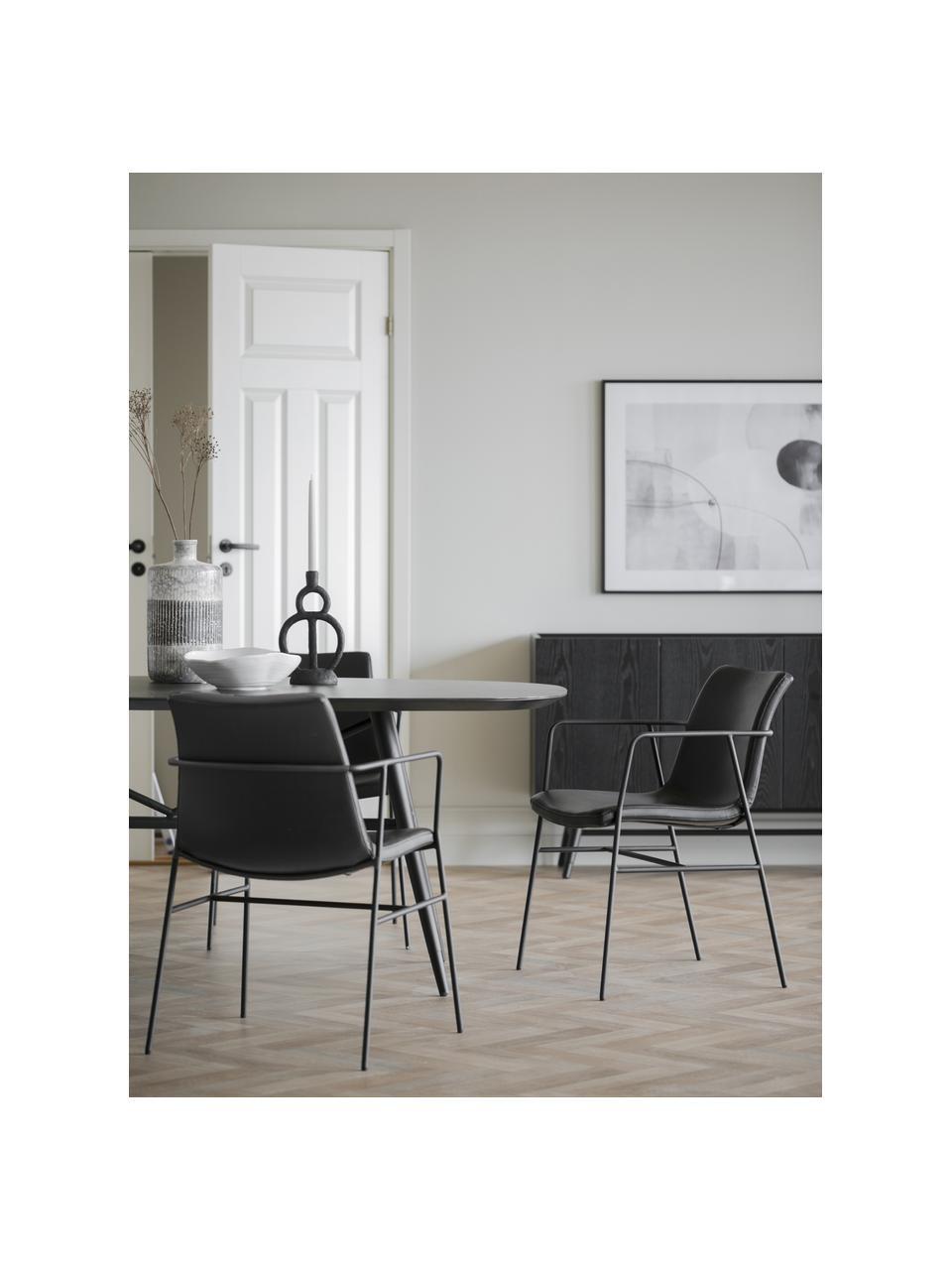 Tavolo effetto marmo Springdale, 200 x 98 cm, Gambe: metallo verniciato a polv, Nero, Larg. 200 x Prof. 98 cm