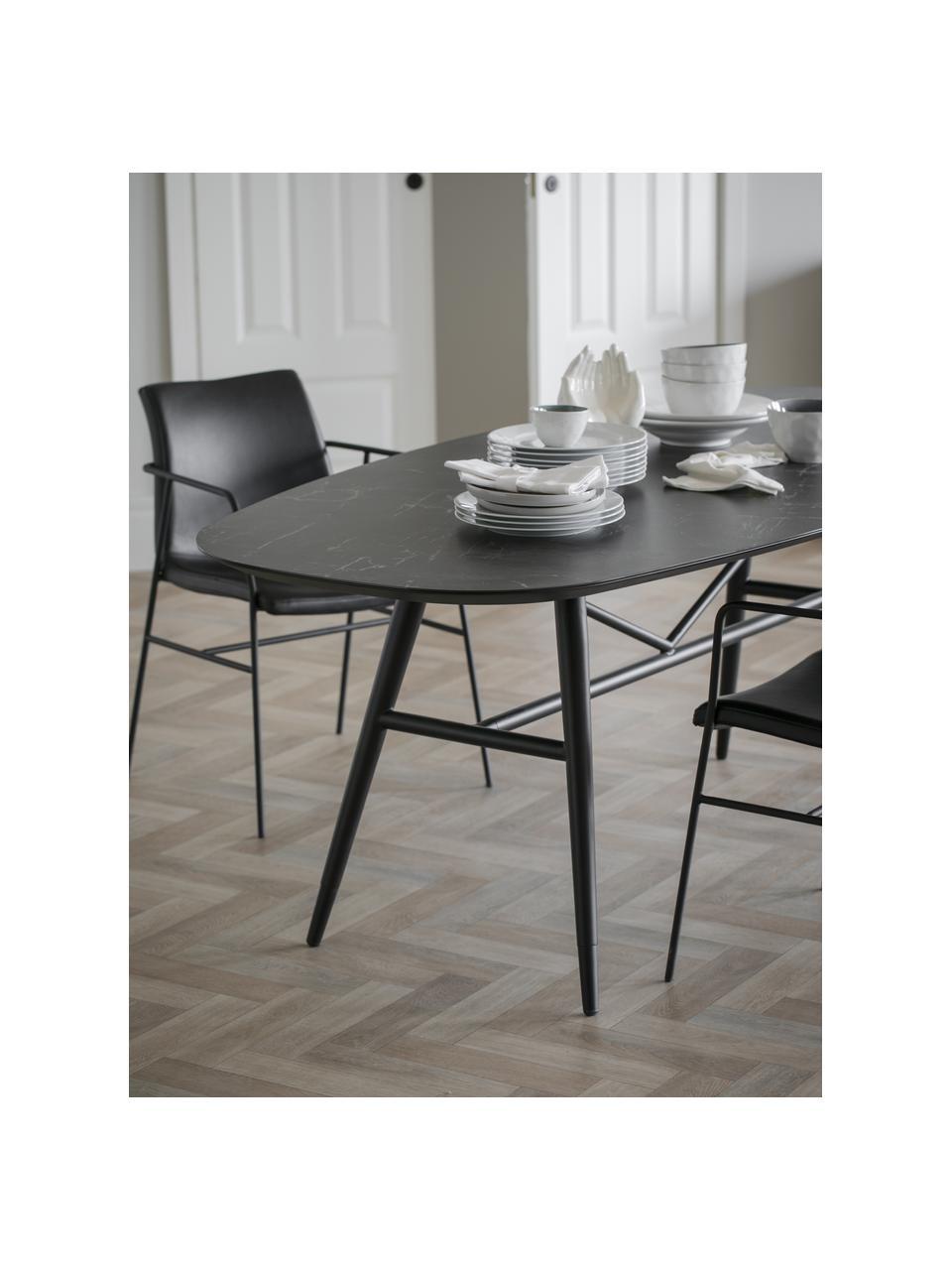 Esstisch Springdale in Marmor-Optik, Tischplatte: Mitteldichte Holzfaserpla, Beine: Metall, pulverbeschichtet, Schwarz, B 200 x T 98 cm