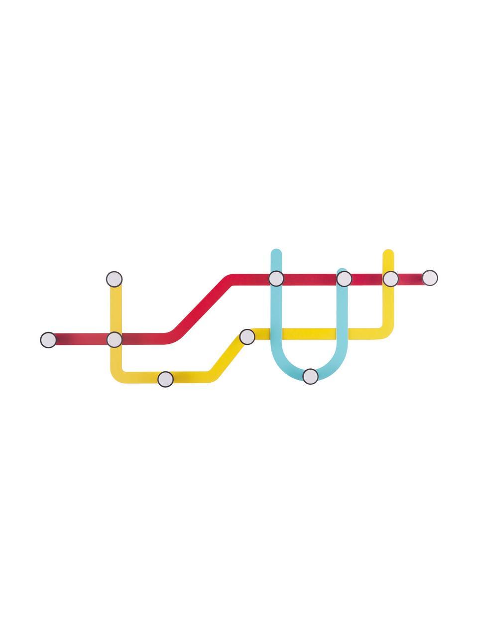 Wieszak ścienny Subway, Czerwony, żółty, jasny niebieski, S 58 x W 20 cm