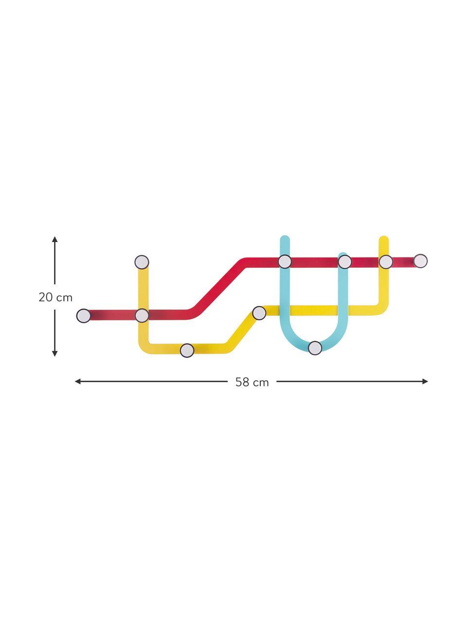 Design Wandgarderobe Subway, Rot, Gelb, Hellblau, 58 x 20 cm