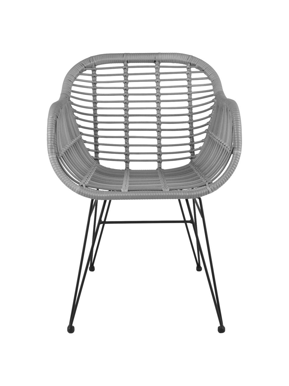 Polyrattan-Armlehnstühle Costa, 2 Stück, Sitzfläche: Polyethylen-Geflecht, Gestell: Metall, pulverbeschichtet, Grau, Schwarz, B 59 x T 58 cm