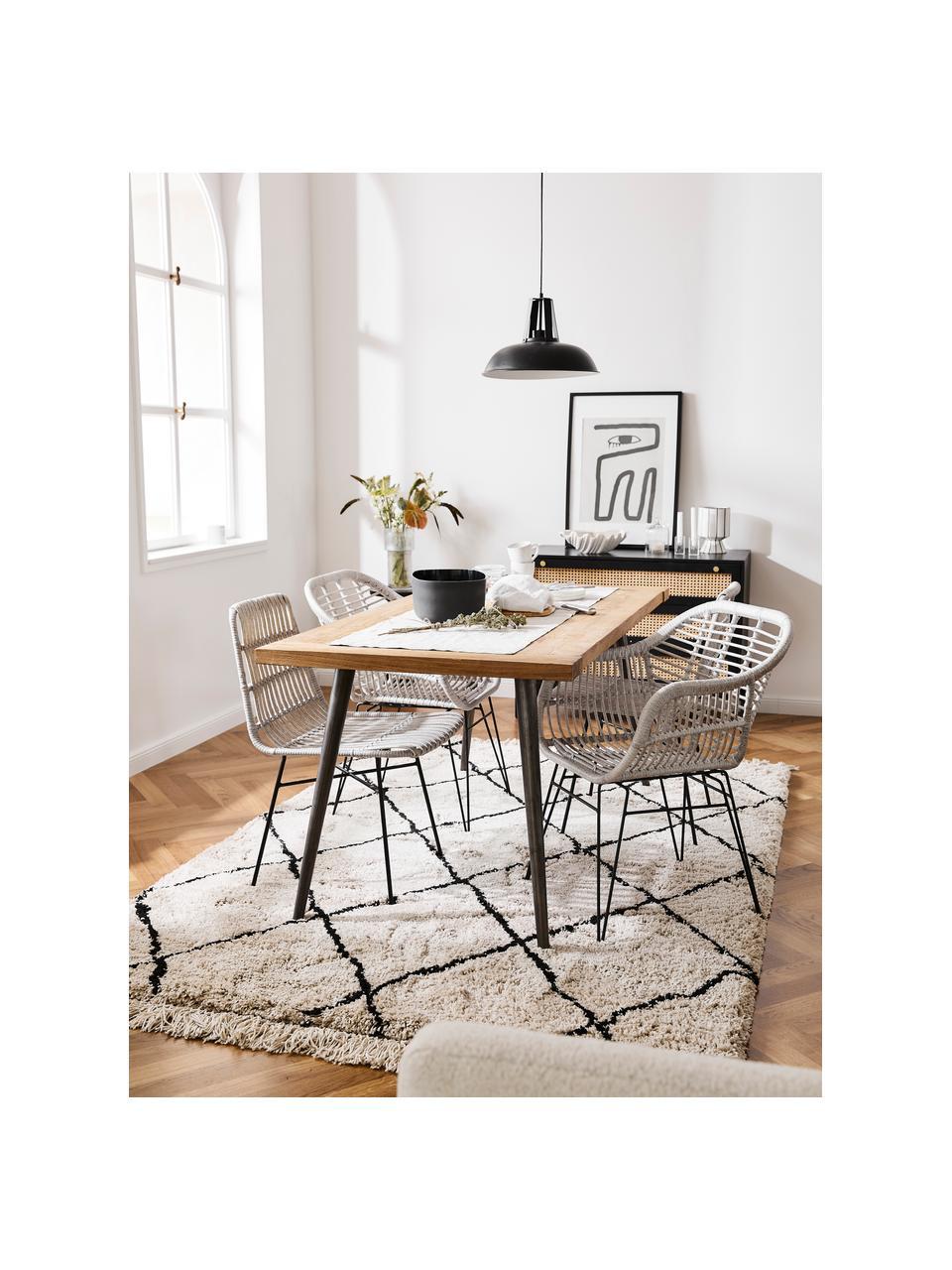 Sedia intrecciata con braccioli Costa 2 pz, Seduta: intreccio in polietilene, Struttura: metallo verniciato a polv, Grigio, nero, Larg. 59 x Prof. 58 cm